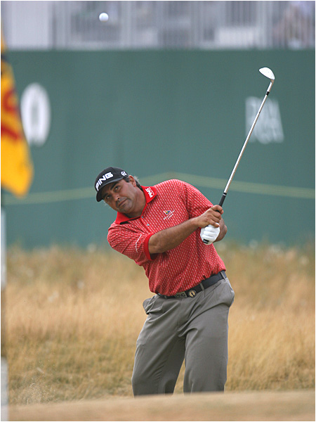 Angel Cabrera, whose best finish at an Open was a tie for fourth in 1999, shot a 66 to trail by two shots.