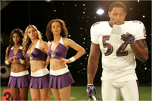 Ray Lewis learned the words to the song he had to sing  moments before the shoot, yet finished in a swift half hour.