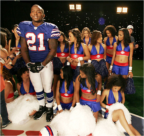 McGahee may look bashful, but he had plenty of swagger on set.