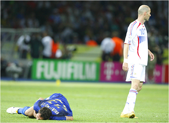 Marco Materazzi lies on the ground after taking a headbutt to the chest from France's Zinedine Zidane.