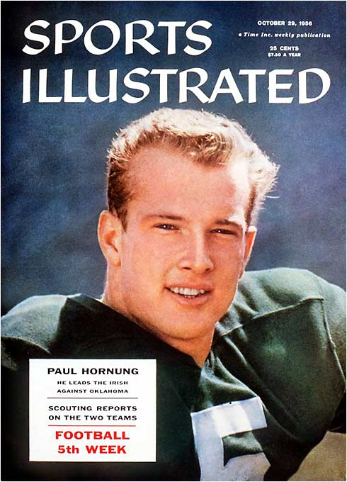 Seldom has college football seen a more versatile player. A sophomore fullback on a 9-1 team, Hornung shifted to QB in 1955 and earned consensus All-America honors by finishing fourth nationally in total offense and making five interceptions. As a senior he ranked second in total offense and added 55 tackles on defense, thus becoming the lone player in history to win the Heisman for a team that finished with a losing record (2-8). He also kicked and punted, highlighted by a game-winning field goal with 2:15 left against Iowa in 1955.
