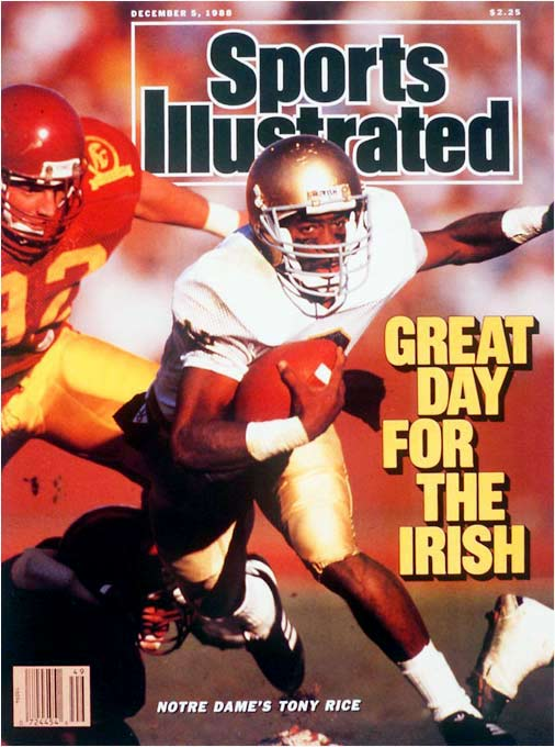 Propelled Notre Dame's school record 23-game winning streak in 1988-89 -- and 10 of those triumphs came against ranked teams (five in the Top 3). Rice and USC's Matt Leinart own the most victories in NCAA annals as starting quarterbacks against ranked teams (11). Leinart had six wins versus Top 10 foes, while Rice had nine. The engine in Lou Holtz's option-oriented attack, he is the lone player in school annals to pass for more than 3,000 yards and rush for more than 2,000 (including bowl games). He averaged 4.9 yards per carry and a remarkable 8.7 yards per pass attempt.