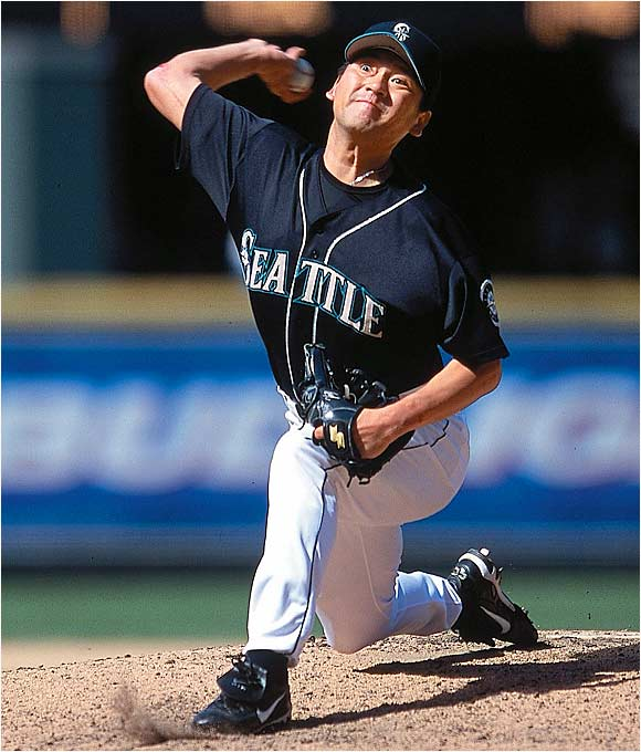 This was no ordinary rookie. At 32, Sasaki was the all-time saves leader in Japan before coming to Seattle on a two-year, $9.5 million contract. His transition to the majors was seamless as he recorded 37 saves and struck out 78 batters in 62 1/3 innings. He beat out Oakland's Terrence Long for AL Rookie of the Year honors.