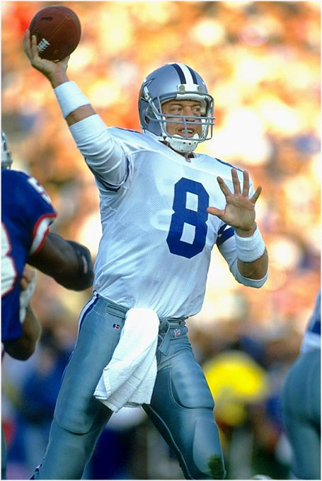 The 1990s Cowboys were loaded with talent, but when a big game was on the line, they always turned to Aikman to bring home the victory. Aikman's statistics in big playoff games are incredible, beginning with his brilliant performance in the 1992 NFC Championship Game, in which the Cowboys beat the 49ers and became the conference's powerhouse.