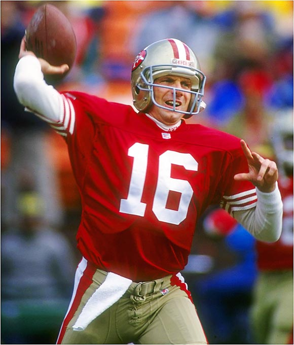 "His career was filled with dramatic performances under pressure. Starting with ""The Catch"" in the 1981 NFC Championship Game, Montana always found a way to help the Niners win the big game. ""Joe Cool"" never let pressure affect his play and was at his best in the national spotlight. He was 4-0 in Super Bowls and was MVP of the big game three times."