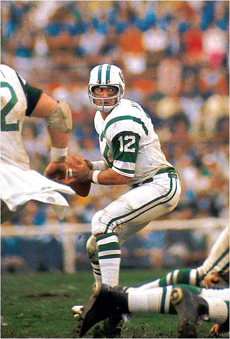 Namath's guarantee that the Jets would win Super Bowl III over heavily favored Baltimore is all you need to know. Broadway Joe delivered a 16-7 victory, shifting the balance of power between the NFL and AFL and paving the way for the merger. Namath loved playing under pressure and won several big games for the Jets.
