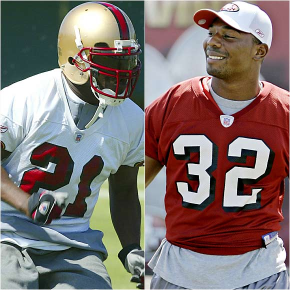 Though Barlow (right) has been practicing with the starters, Gore, the team's top rusher in '05, has the north-south style that coach Mike Nolan prefers.