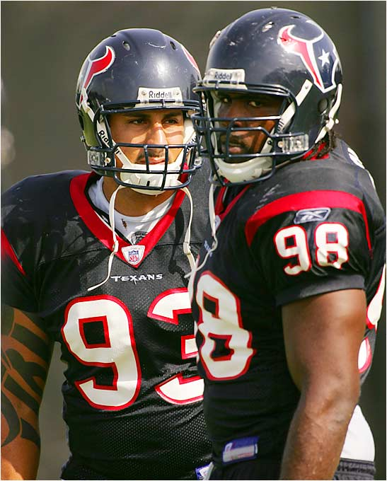 The young Texans, Babin (left) and Peek, are fighting tooth and nail to win the spot opposite No. 1 overall pick Mario Williams.