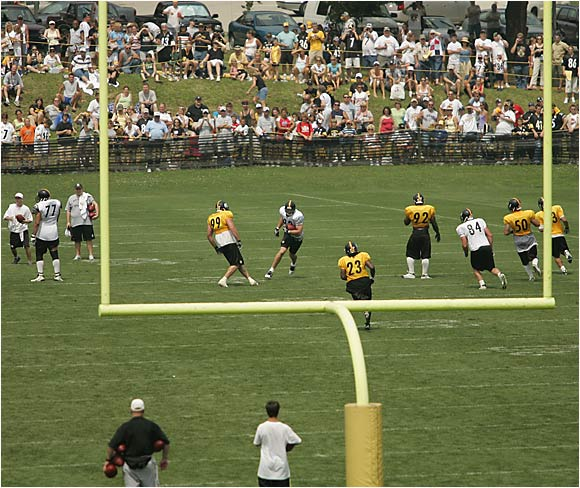 The defending Super Bowl champion Steelers, shown here working on a special teams play, open their season at home against the Dolphins.