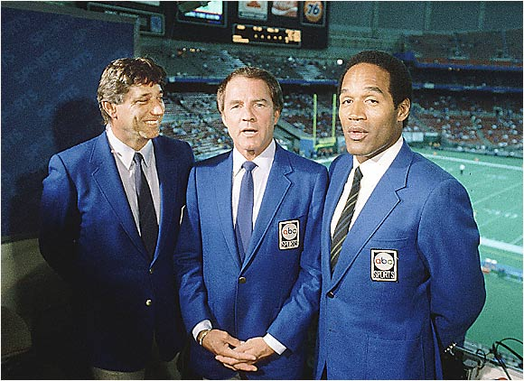 The infamous O.J. Simpson formed one part of an imposing MNF trio, joining Joe Namath (left) and Frank Gifford.