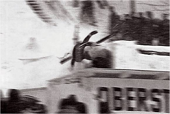 """In the Wild World of Sports' """"agony of defeat"""" video clip, skier Vinko Bogataj is featured in the International Flying Competition."""