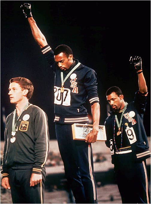 In 1968, 200-meter dash gold medal-winner Tommie Smith and teammate John Carlos raised their hands in a black power salute, casting this indelible image.