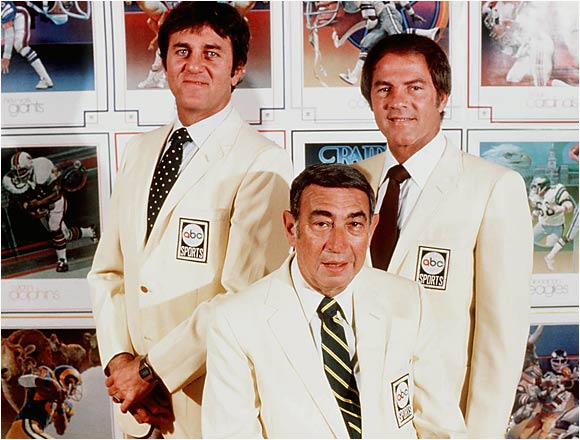 The legendary Howard Cosell was the face of Monday Night Football, joining Don Meredith (left) and Frank Gifford (right). He passed away in 1995.
