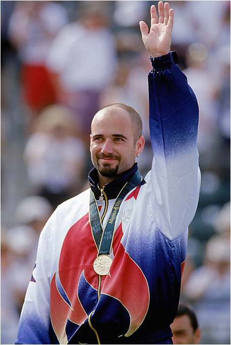 "His dad was a boxer on the Iranian team in 1948 and `52, but Agassi seemed blasé about the Atlanta Games. Then the competition began. Summoning some of his best tennis, Agassi was inspiring; he won the gold and pronounced the achievement ""the greatest accomplishment I've ever had in this sport."""