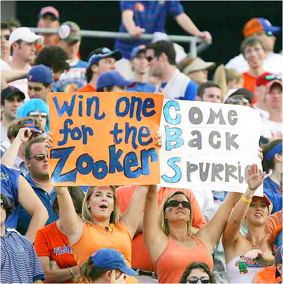 Florida fans show their support for ex-coach Steve Spurrier during this 2004 game against Georgia