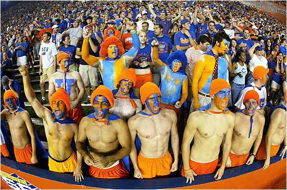 Gator Superheroes? We're not sure, but you can't say they don't have school spirit.