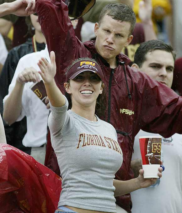 A Seminole fan saluted the camera during a 2003 game against Miami.