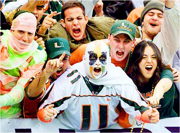 Miami fans gave their vocal cords a workout during a game against Florida State last September.