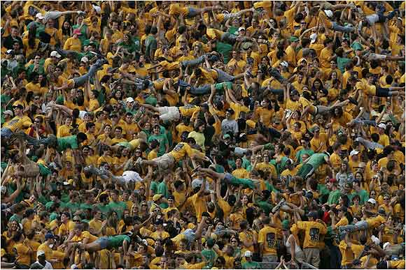 As you can tell, crowdsurfing is big in South Bend, especially during this game against Michigan State last September.