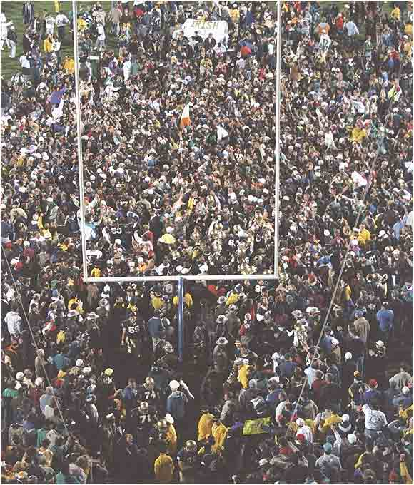 Notre Dame fans attack the goalposts after defeating Florida State in November, 1993.