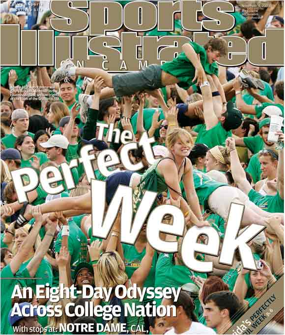 Notre Dame fans performed push-ups for the cover of the September 2004 issue of SI on Campus.