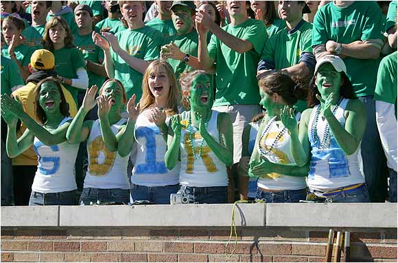These lovely ladies of South Bend threw their support behind the Fighting Irish during a game against Michigan State last September.