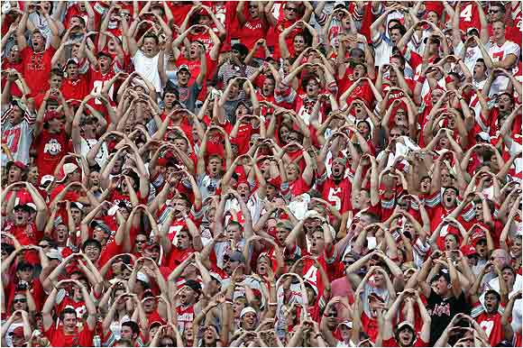 In this game from the 2005 season, Buckeye fans gave a giant O in O-H-I-O during a timeout against Miami Ohio University at Ohio Stadium.