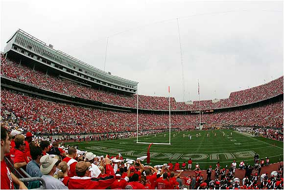 Over 100,000 fans packed Ohio Stadium to see the Buckeyes defeat Iowa 31-6 in September, 2005.