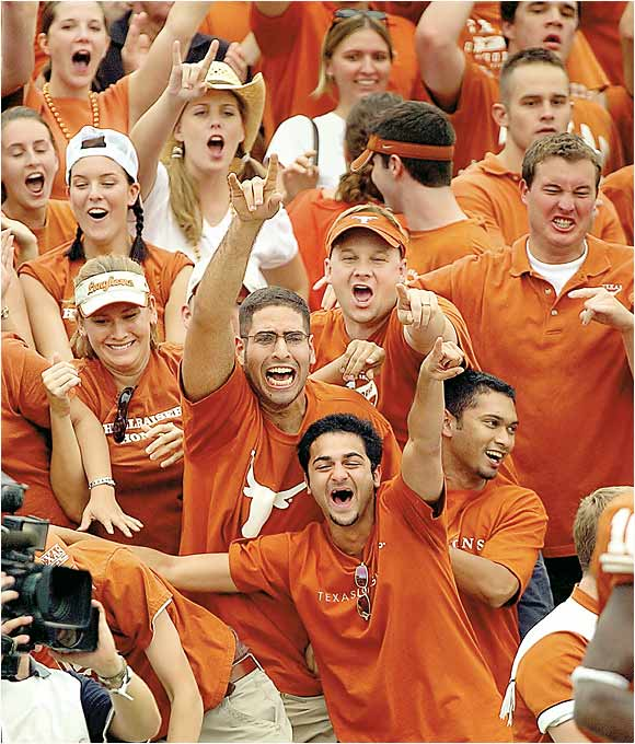 Enthusiastic Texas fans cheer for the Longhorns during the annual Red River Shootout against Oklahoma last October.