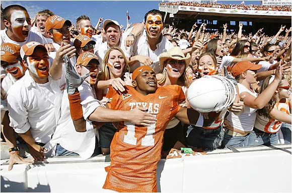 Texas RB Ramonce Taylor whooped it up with fans after the Longhorns' 45-12 win against Oklahoma during the Red River Shootout last October.