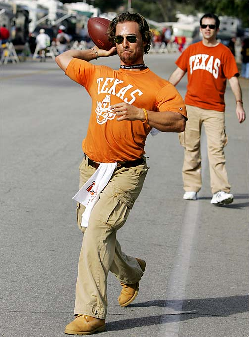 Texas alumnus Matthew McConaughey tosses a football around with fellow fans in the parking lot before last January's Rose Bowl.