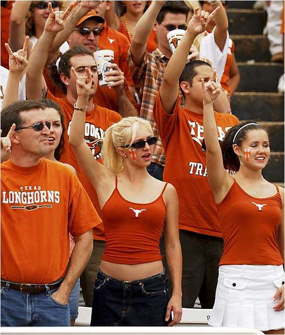 These ladies had a great view of the Longhorns' 56-35 victory over Oklahoma State in October 2004.
