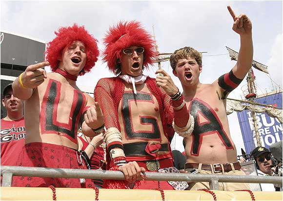 UGA fans busted out the wigs, skirts and mesh to show their support for the Dawgs during the 2005 Outback Bowl against Wisconsin.