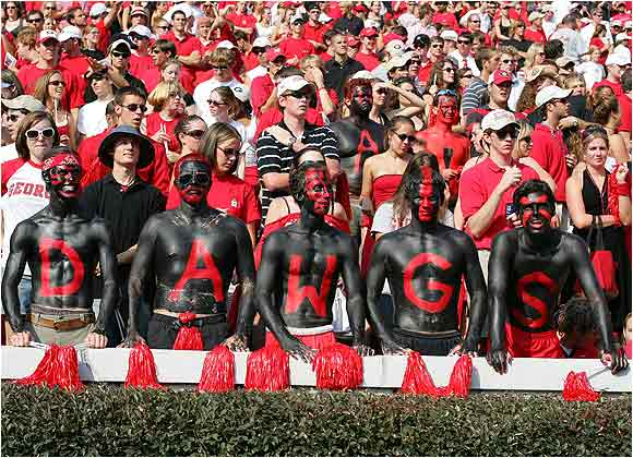 These Georgia fans weren't afraid to amp up the bodypaint for their Dawgs during a game against Boise State last season.