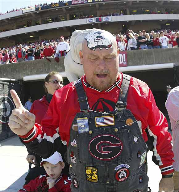 This UGA fan got fired up before a 2004 game against Vanderbilt. The Bulldogs would go on to win, 33-3.