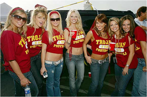 These Trojan fans got themselves in a football mood before last January's Rose Bowl.