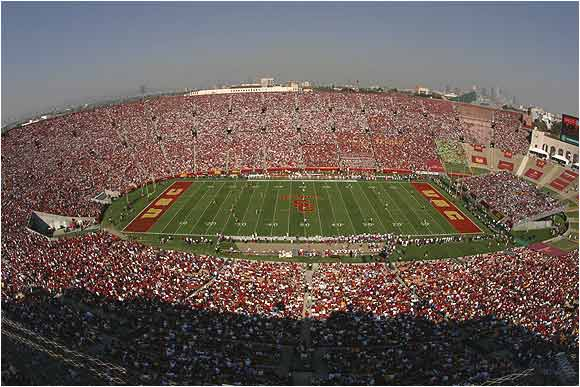 An aerial view of Los Angeles Memorial Coliseum, the home of the Trojans for nearly 60 years. The stadium holds more than 92,000 for football.