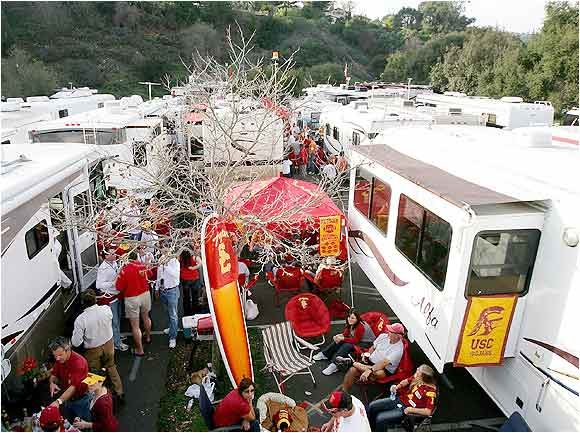 USC fans fueled up at tailgate festivities before the start of the BCS National Championship Rose Bowl Game between the Trojans and Texas Longhorns last January.