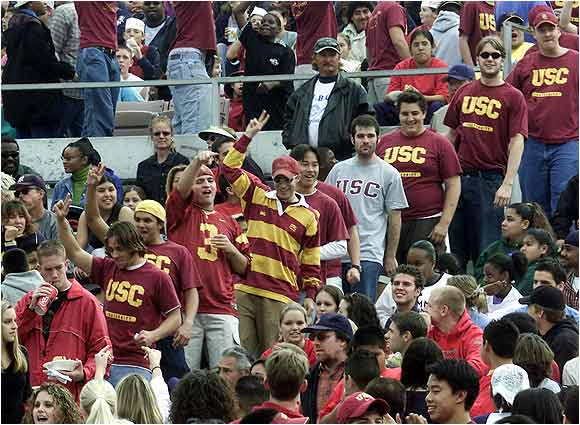 USC fans invaded the Rose Bowl to cheer for a UCLA Bruins victory over Washington State. The Bruins could have clinched a Rose Bowl berth for the Trojans, but like any good rival, they didn't oblige, losing 48-27 and sending USC to the Orange Bowl instead.