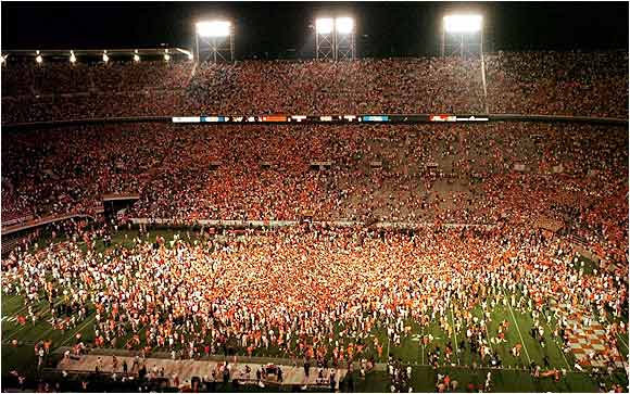 Tennessee fans stormed the field after the Volunteers defeated Florida, 20-17, on September 20, 1998, breaking the Gators' streak of five straight wins over the Vols.