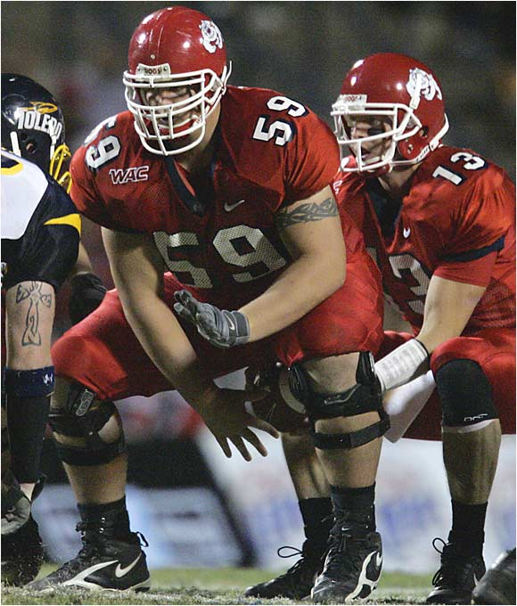One of the nation's finest centers headlines the WAC's best offensive line and calls all of the group's pass protection and run schemes. The 6- 6, 330-pounder has started 39 consecutive games at center, but he may play guard at the next level.