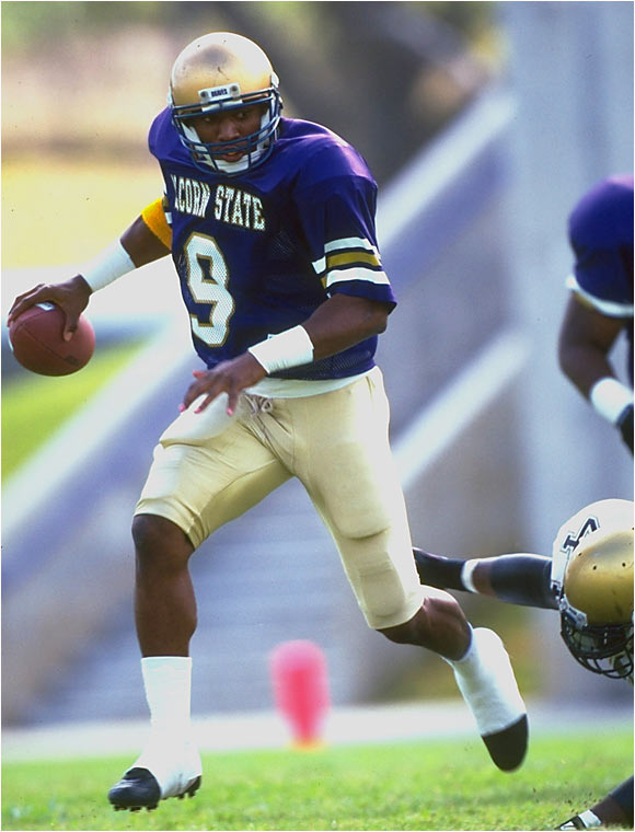 "Best season: Reached I-AA playoffs in 1994<br><br>'94 passing stats: 304 of 530 (57.4 percent), 4,863 yards, 44 TDs, 17 INTs<br><br>'94 rushing stats: 119 carries, 936 yards, 9 TDs<br><br>McNair was so prolific in '94 that he finished third in the Heisman Trophy vote despite playing in the obscurity of Division I-AA. The Sept. 26 cover of SI cover from that season, which featured McNair and read, ""Hand Him the Heisman,"" also may have helped his cause."