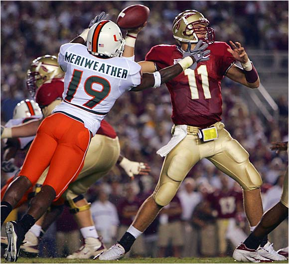 "Florida State snapped a six-game losing streak against the Hurricanes in an ugly 10-7 win last September. The 'Canes are at a disadvantage before the game even kicks off, as starting RB Tyrone Moss and WR Ryan Moore will sit this one out for violating team policy. But then again, this is FSU-Miami, and ""Wide Right"" is always a possibility."