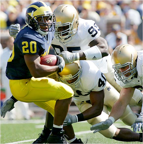In last year's installment, No. 20 Notre Dame shocked No. 3 Michigan with a 17-10 victory. The win snapped Michigan's 16-game winning streak at the Big House and kick-started the massive Charlie Weis hype. Michigan's star running back, Mike Hart, was injured early in that game, but he'll be ready to test an ND defense that was very shaky last season. New Michigan defensive coordinator Ron English will face his first big test against Brady Quinn & Co.