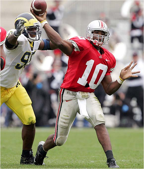 Wolverines coach Lloyd Carr is just 1-4 against the Buckeyes' Jim Tressel, and consistently losing this rivalry game is just plain unacceptable (just ask former Ohio State coach John Cooper). This trip to the 'Shoe could be the toughest contest in Michigan's brutal road schedule, which also includes games at Notre Dame and Penn State. Ohio State QB Troy Smith has owned the Wolverines in each of the past two seasons, combining for 723 all-purpose yards and five touchdowns.