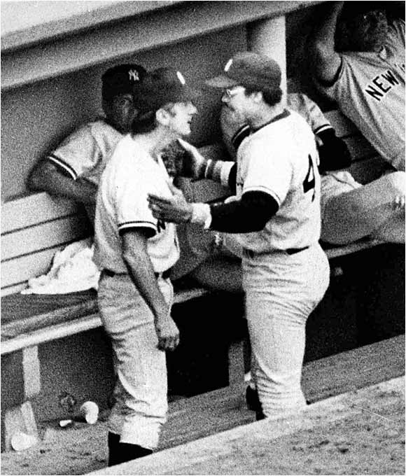 After being pulled from a 1977 game in which he didn't hustle on a play in the outfield, Yankees star Reggie Jackson got into an argument with manager Billy Martin that was seen by millions of viewers on television. Of course, Martin had his share of dustups with players and fans alike. In a 1985 skirmish with Yankees pitcher Ed Whitson, Martin walked away with a broken right arm.
