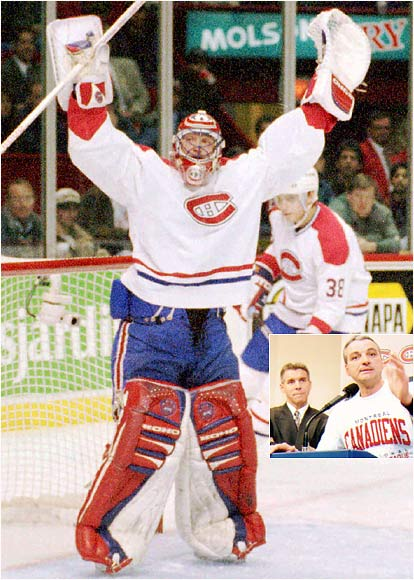 Already upset over critical comments that rookie coach Mario Tremblay (inset) had made about him while previously employed as a broadcaster, Patrick Roy decided enough was enough when Tremblay refused to pull him after the Red Wings scored nine goals in a December 1995 game. Roy skated to the bench and told team president Ronald Corey that he had played his last game with the Canadiens.