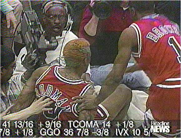 """How could you forget Dennis Rodman's infamous kicking of that cameraman in the privates? That was both classic and classless, and could have at least got an honorable mention."" -- Nick, Richmond Hill, Ga."