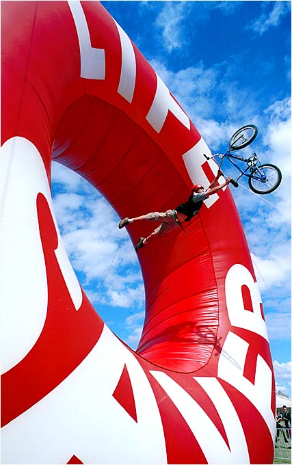 "Some might say that in this context, a giant ""Life Saver"" is ironic. Nevertheless, Brisbane's Jason Cloherty threw caution to the wind in pulling this trick during the BMX stunt competition in Australia in 1999."