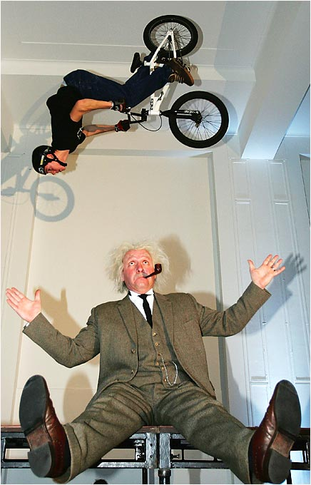 "For all those who find BMX to be as simple as, well, riding a bike, Ben Wallace has just the thing for you. He and Cambridge University physicist Helen Czerski developed a distinctive stunt known as the ""Einstein Flip,"" in which Wallace spins backwards 360 degrees, while folding the bike underneath him."